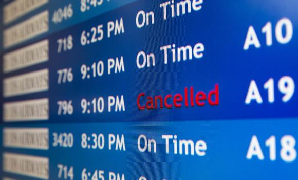 A departure board at the Philadelphia International Airport shows that US Airways Flight 796 to Tel Aviv has been canceled on Tuesday, July 22, 2014, in Philadelphia. The Federal Aviation Administration is telling US airlines they are prohibited from flying to the Tel Aviv airport in Israel for 24 hours after a Hamas rocket exploded nearby.