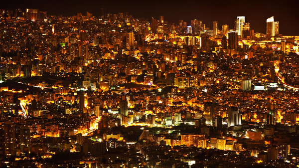 An aerial view of the city of Beirut at night time.