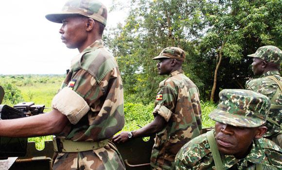 Soldiers of the Uganda People's Defence Force (UPDF) patrol in Zemio, in the northeastern part of the Central African Republic to secure the area from rebel groups' possible attacks.