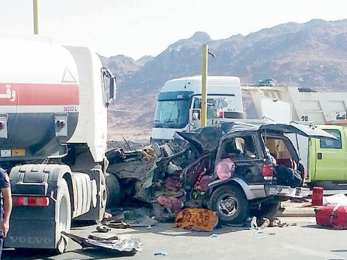 The scene of the accident that killed three European Umrah pilgrims on Hijrah Road.
