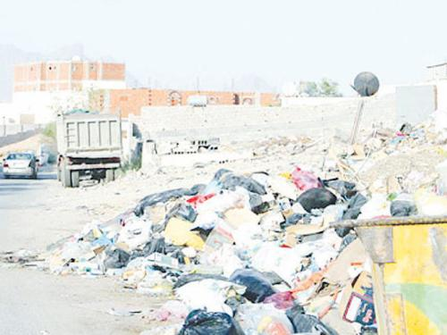 Household garbage dumped in one of the open plots in Al-Akeishia district of Makkah.