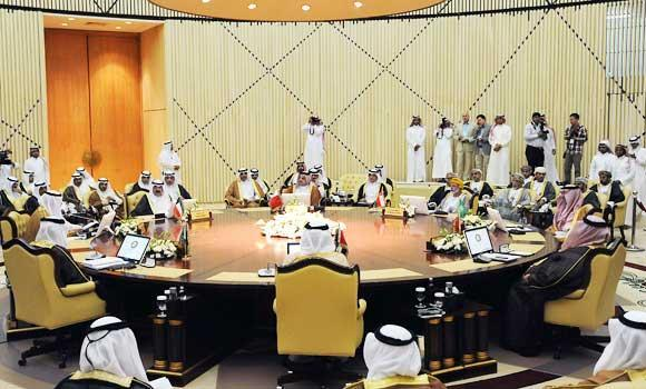 In this June 2, 2014 file photo, Gulf Cooperation Council (GCC) foreign ministers attend a meeting in Riyadh.