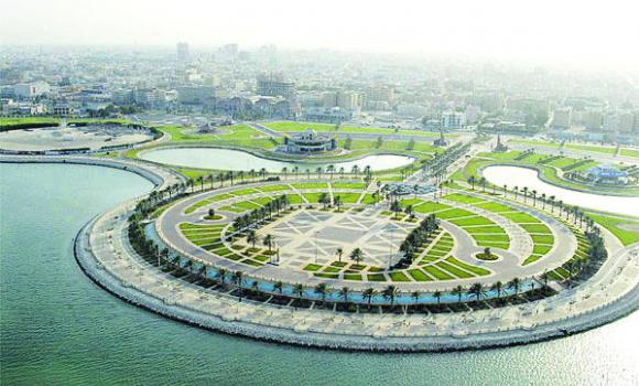 An aerial view of the open theater on Alkhobar's seafront, where events are usually held.