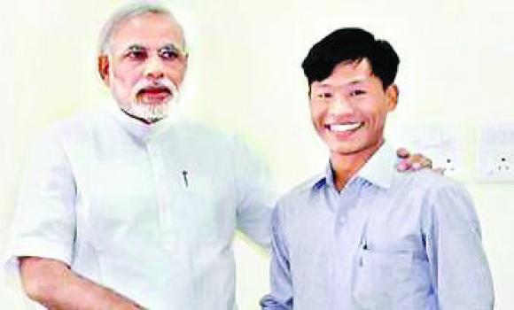Premier Narendra Modi and Jeet Bahadur Saru Magar.
