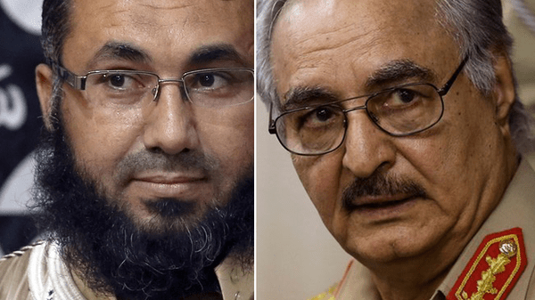 Renegade general Khalifa Haftar (right) vows to defeat militants of Ansar al-Sharia, who are led by Mohamed Zahawi (left).