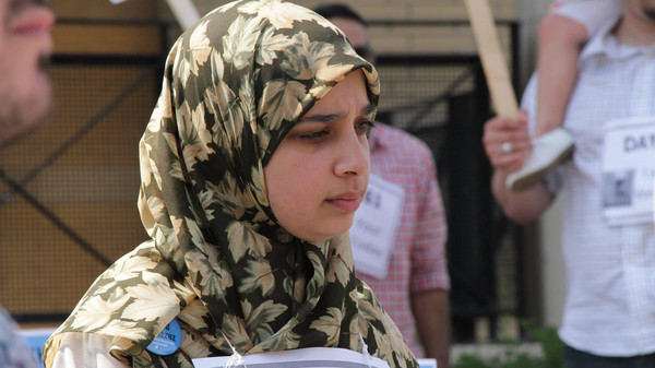 Sarah Attia at a rally in Mississauga, Canada calling for her husband's release, June 30, 2014.