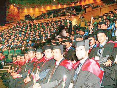 Saudi students attend a graduation ceremony in Brisbane, Australia