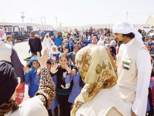 Sheikha Jawaher Bint Mohammed Al-Qasimi visits a refugee camp