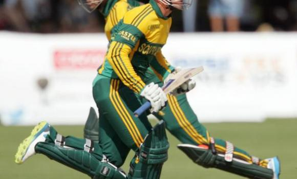 South Africa batsmen Quinton de Kock, right, and JP Duminy run between the wickets during the third and final cricket match of a three one-day internationals (ODI) between Zimbabwe and South Africa at the Queens Sports Club in Bulawayo, on Thursday.