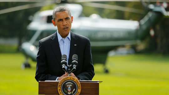 President Obama said on Saturday that airstrikes he ordered in northern Iraq had destroyed arms and equipment held by Islamic State forces but that it will be a long-term project. Publish Date August 9, 2014.