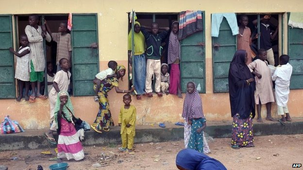 Thousands have fled Gwoza and now are living in a school.