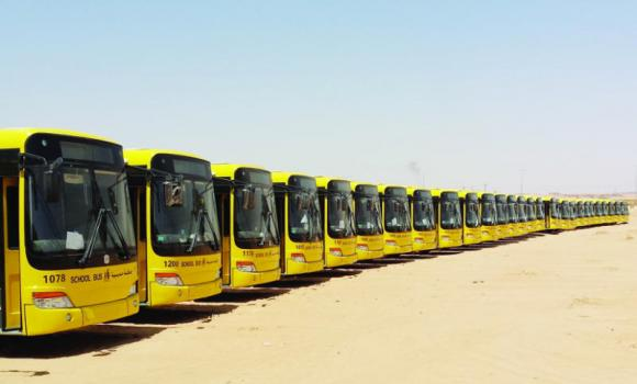 A fleet of 1,200 yellow school buses were off loaded from cargo liners at the Jeddah Islamic Port on Tuesday bringing the total fleet of schools buses to 22,000 throughout the Kingdom.