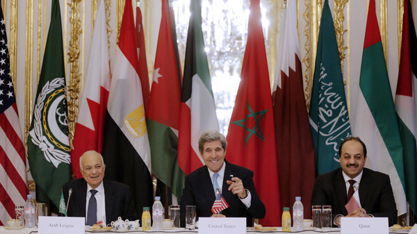 Arab League chief Nabil al-Arabi said ISIS need to be confronted 'militarily and politically' a day after he and U.S. Secretary of State John Kerry discussed taking action against the group.