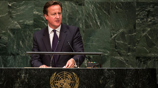 United Kingdom Prime Minister David Cameron speaks at the 69th United Nations General Assembly on September 24, 2014 in New York City.