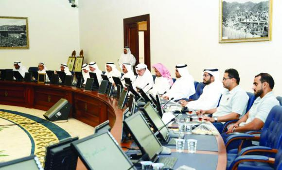A technical committee tasked with ensuring safety inside the Grand Mosque at a meeting with the Ministry of Higher Education and other officials at Umm Al-Qura University on Wednesday.