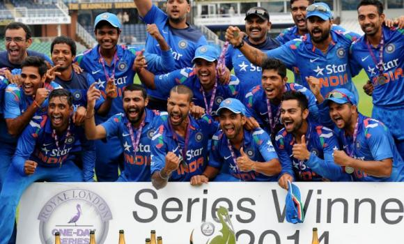 India players celebrate defeating England 3-1 to win the series after their fifth One Day International match at Headingley cricket ground, Leeds, England, on Friday.