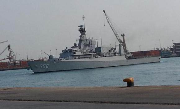 One of the two Indonesian Navy ships that docked at Jeddah seaport on Wednesday.