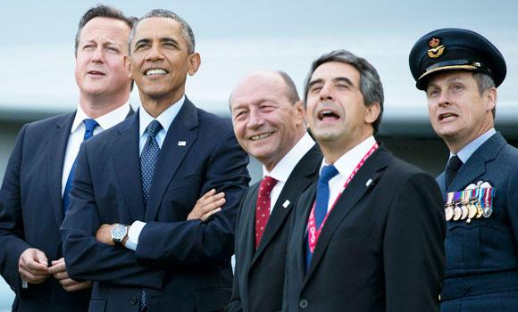 NATO leaders watch a flypast of military aircraft on the second day of the NATO 2014 Summit at the Celtic Manor Resort in Newport, South Wales, on Friday.
