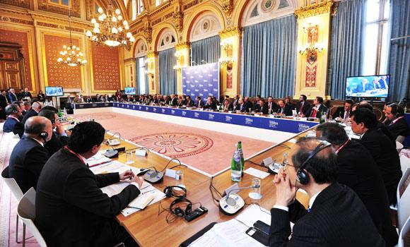 In this April 29, 2014 photo, delegates attend the Friends of Yemen meeting in central London.