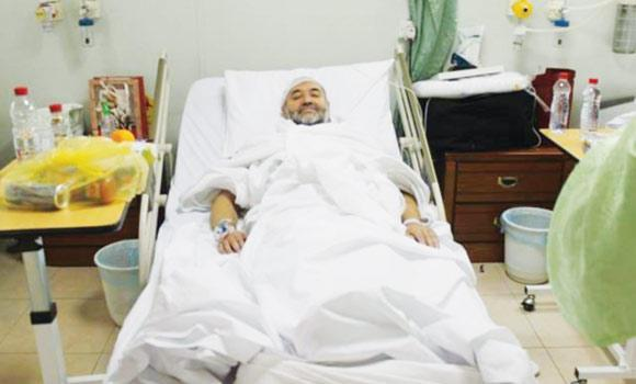 German pilgrim Saleem Salman in his hospital bed in Arafat.