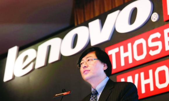 Lenovo Chairman and CEO Yang Yuanqing speaks during a news conference in Hong Kong.