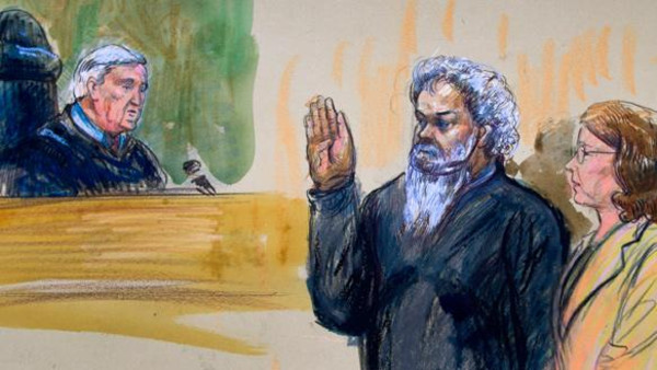 Artist's rendering shows Libyan militant Ahmed Abu Khatallah in court.