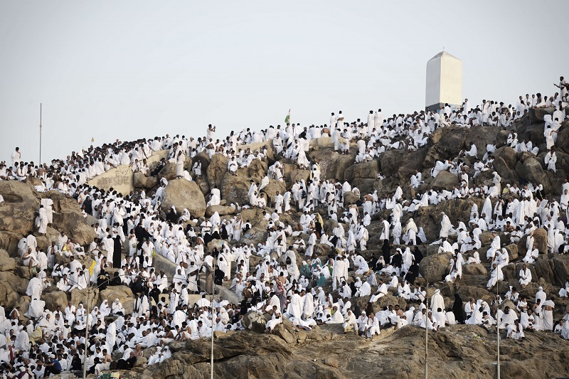 Muslim pilgrims gather on Mount Arafat.