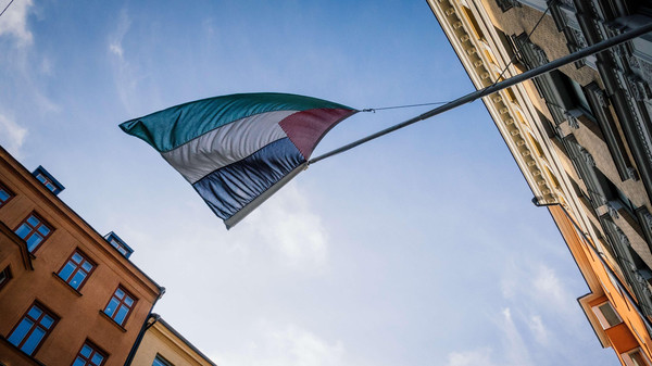 Palestinian flag is on display outside the Palestinian Representative Office in Stockholm, Sweden 's capital, on Oct. 30, 2014.