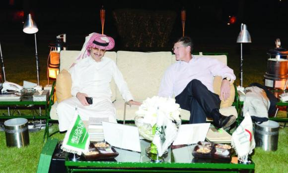 Prince Alwaleed with Mike Corbat, Citigroup's CEO, at Kingdom Resort.