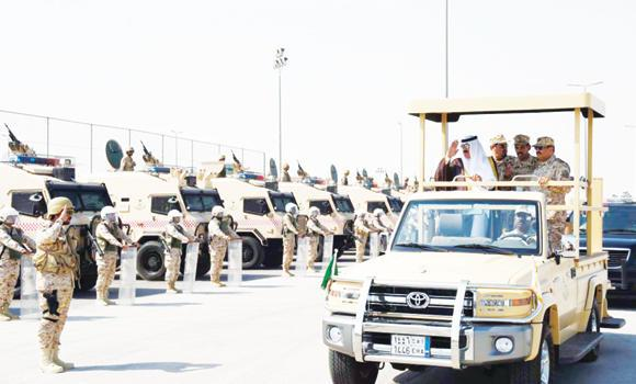 Prince Miteb bin Abdullah, state minister and commander of the National Guard, inspects the readiness of the armed forces during a visit to Dammam.