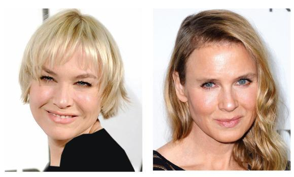 "Left, actress Renee Zellweger in a 2010 file photo, and right, Zellweger in an Oct. 20, 2014 photo. The actress became a trending topic on Twitter, with many fans claiming the actress had become ""unrecognizable."""