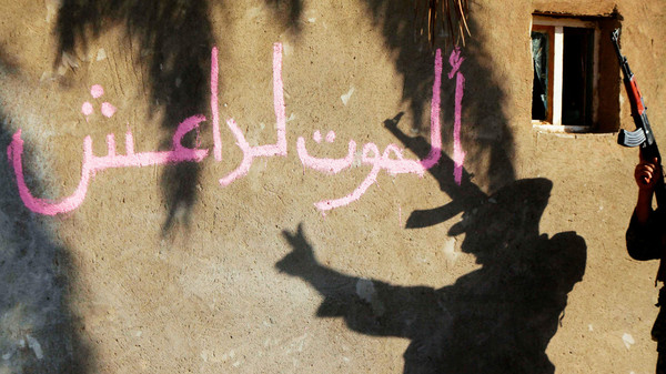 The shadow of a Shiite fighter flashing the 'V' sign while celebrating after taking control of Jurf al-Sakhar from ISIS militants, is cast on a wall October 26, 2014.
