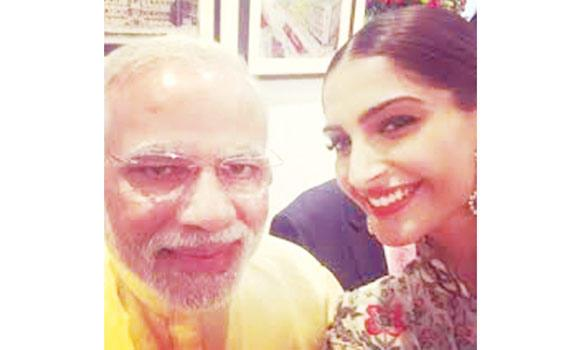 Sonam Kapoor with Narendra Modi.