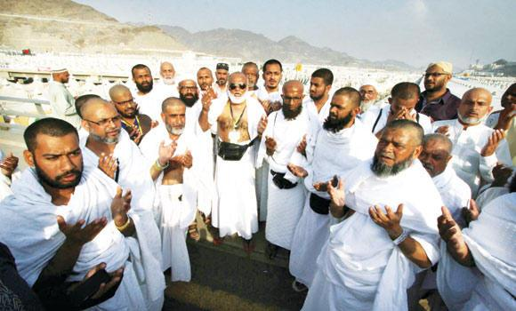 Among the first group of pilgrims to arrive in the tent city of Mina on Wednesday were Indians, Pakistanis and Bangladeshis.
