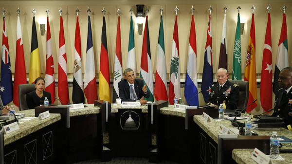 U.S. President Barack Obama speaks at a meeting with more than 20 foreign defense chiefs to discuss the coalition efforts in the ongoing campaign against ISIS at Joint Base Andrews in Washington Oct. 14, 2014.