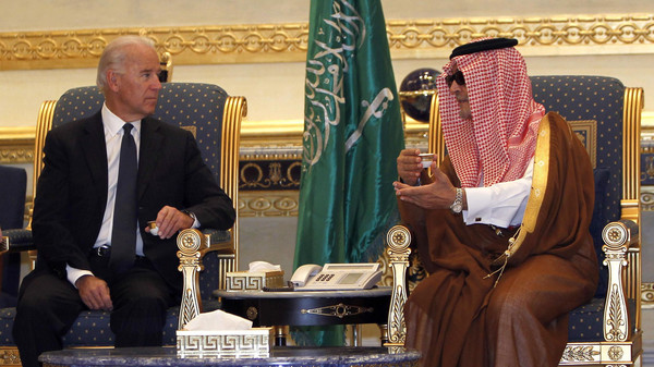 U.S. Vice President Joe Biden and Saudi Foreign Minister Prince Saud Al-Faisal meet at Riyadh airbase Oct. 27, 2011.