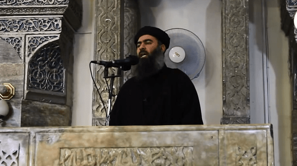 Around 50 young people could be seen in a video posted on social media gathering in Derna to support Abu Bakr al-Baghdadi (pictured).