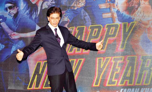 "Actor Shah Rukh Khan attends a promotional event for the film ""Happy New Year"" in Mumbai."
