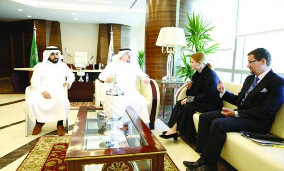 Deputy Minister of Labor Moufarrej bin Saad Al-Haqbani, second from left, and Krista Kiuru, Finland's minister of education, science and communications, hold talks at the headquarters of the Labor Ministry in Riyadh on Monday.