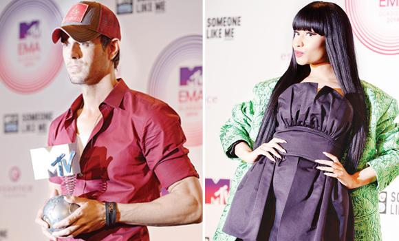 Enrique Iglesias (L) and Nicki Minaj.