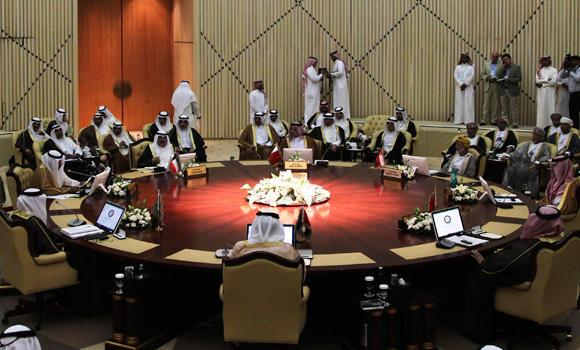 In this June 2, 2014 photo, Gulf Cooperation Council (GCC) foreign ministers attend a meeting in Riyadh.