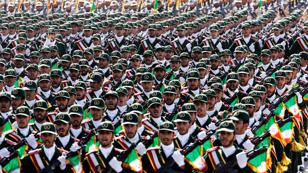 Iran's Revolutionary Guard troops march, during a military parade in 2012.