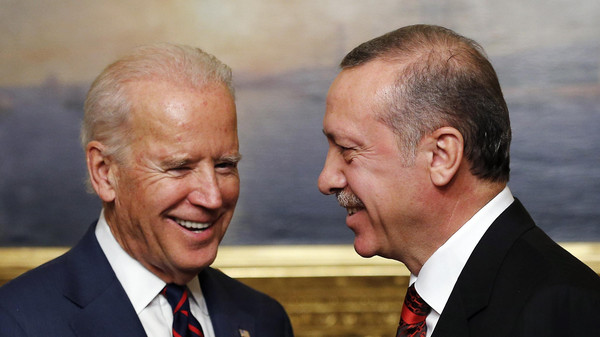 U.S. Vice President Joe Biden (L) meets with Turkey's President Tayyip Erdogan at Beylerbeyi Palace in Istanbul Nov. 22, 2014.