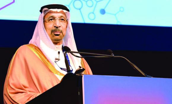 Khalid A. Al-Falih, president and CEO of Saudi Aramco, addresses the 9th annual Gulf Petrochemicals and Chemicals Association Forum in Dubai on Monday.