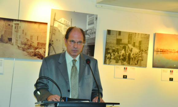 Louis Blin, French consul general, at the opening of the special exhibition of around 50 old photographs of Jeddah and the Hijaz taken between 1895 and 1918.