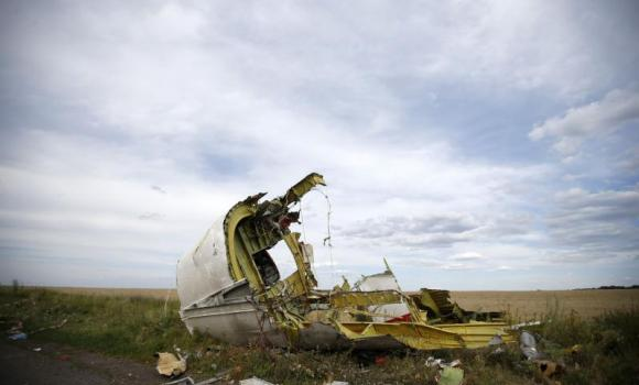 A part of the wreckage is seen at the crash site of the Malaysia Airlines Flight MH17 near the village of Hrabove (Grabovo), in the Donetsk region in this July 21, 2014 file photo.