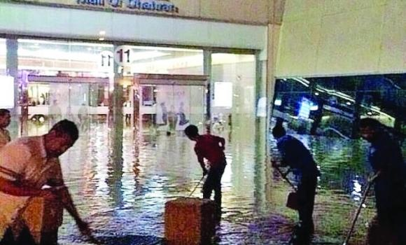 Electricity was cut off in some parts of the Mall of Dhahran after it was flooded on Monday.