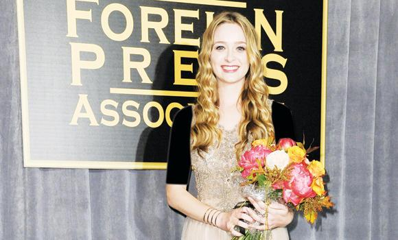 Greer Grammer attends the press conference where she was named Miss Golden Globe 2015, in West Hollywood, California.