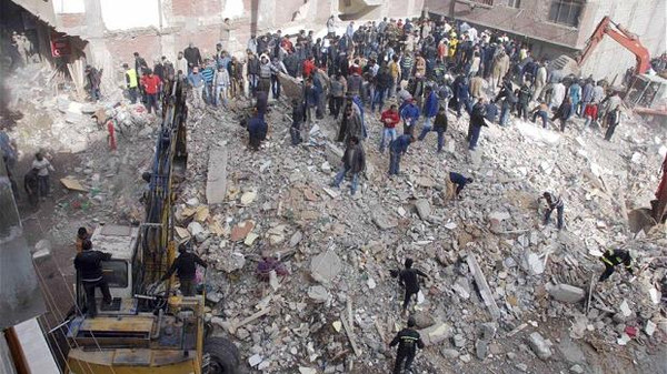 An eight-floor residential building collapsed overnight in Cairo, killing at least 10 people and injuring seven others.