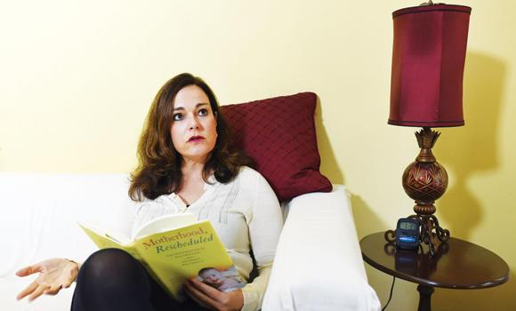 Sarah Richards answers questions about the technique of egg freezing during an interview at her Upper West Side apartment in New York. Richards, 44, was one of the first to use this procedure considered experimental until 2012.